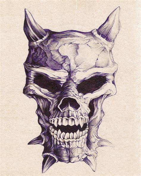 Evil Skull Drawings Pencil
