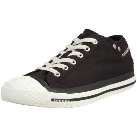 Exposure Low Black White Mens Canvas New Trainers Shoes