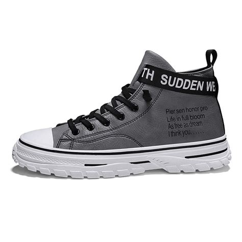FD011-3.6 inches Taller - Height Increasing Elevator Shoes (Grey Lace-up High-top Sneakers)