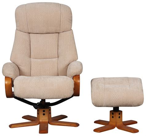 Fabric Recliner Chair With Footstool