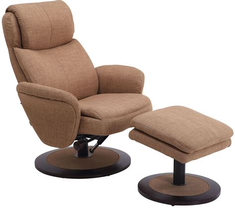 Fabric Swivel Recliner With Ottoman