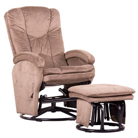 Fabric Swivel Rocker Recliner With Ottoman
