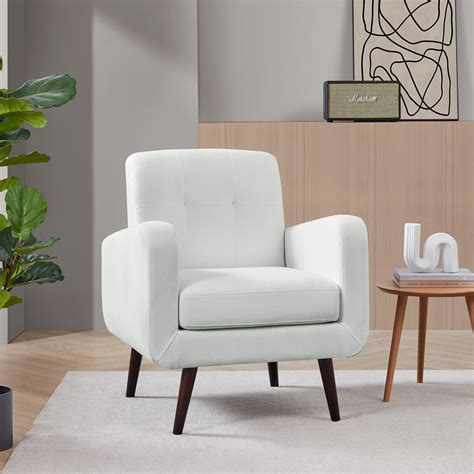 Fabric White Accent Chair With Arms