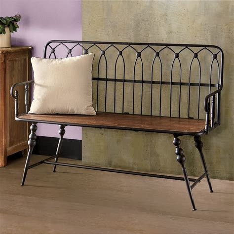Farmhouse Metal Entryway Benches With Backs