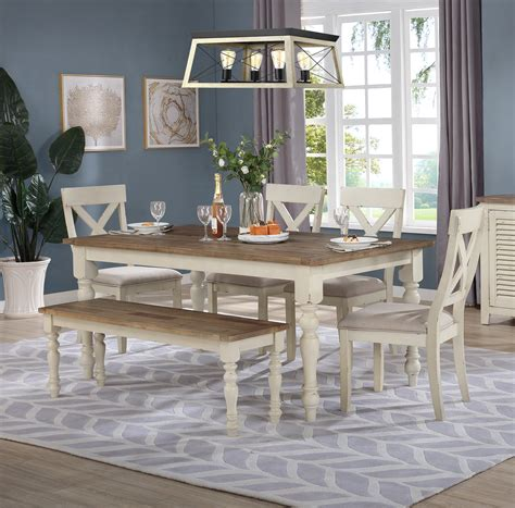 Farmhouse-Dining-Table-With-Bench-Set