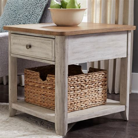 Farmhouse-Side-Table-With-Drawers