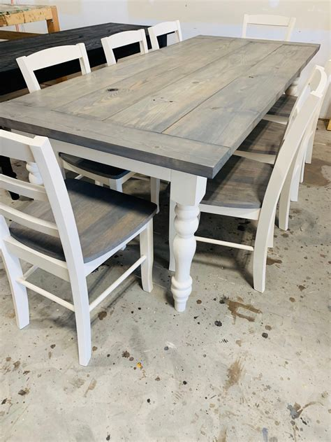 Farmhouse-Table-With-Bench-Wooden-Chairs