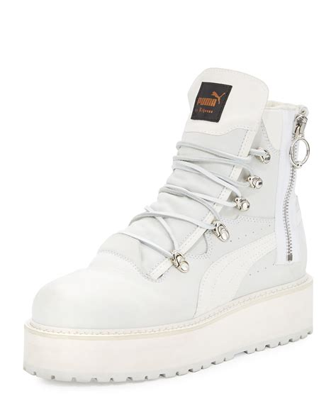 Fenty Puma By Rihanna Leather Platform Sneaker Boot White