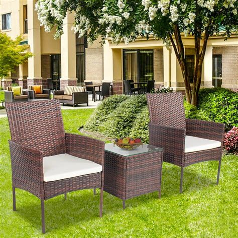Fidel Outdoor 3 Piece Rattan 2 Person Seating Group With Cushions