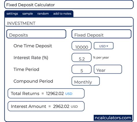 Fixed Deposit Interest Calculator