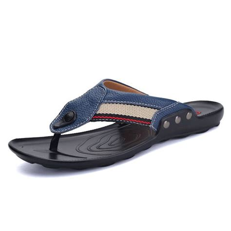 Flip Flops Leather Slippers Sandals Men Casual Non-Slip Beach Shoes