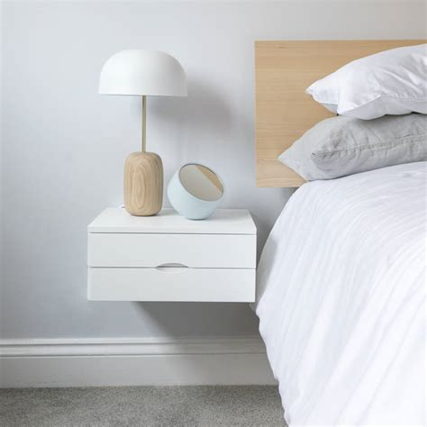 Floating Bedside Table With Double Drawers