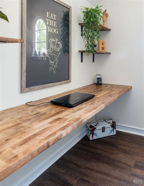 Floating Butcher Block Desk DIY Decor