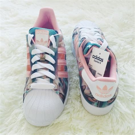 Floral And Coral Adidas Superstar Sneakers