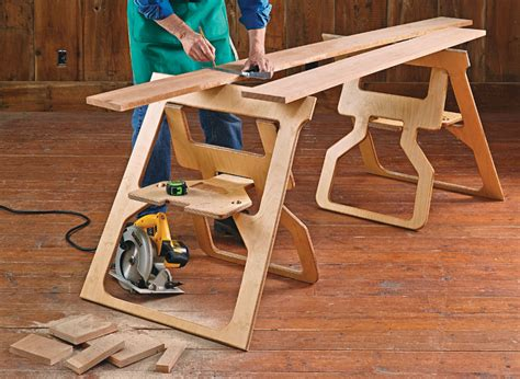 Folding Wooden Sawhorse Plans Plywoods