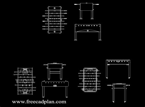 Foosball Table Cad Block Plan