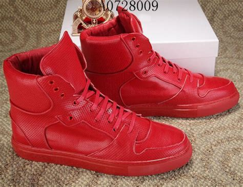 Footwear Men's Mission Trainer Red Fabric and Leather High Top Bodybuilding Sneaker