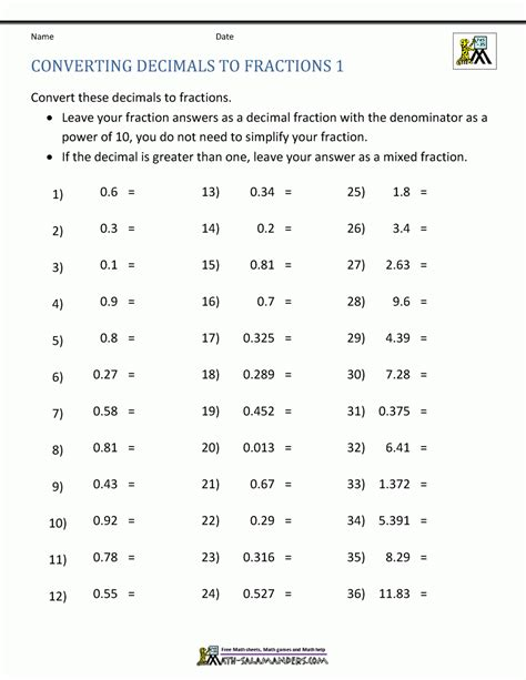 Fraction Decimal Conversion Worksheet Pdf