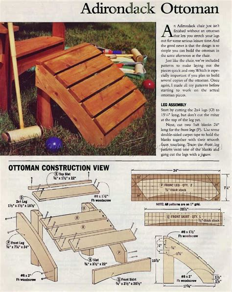 Free Adirondack Chair And Footstool Plans