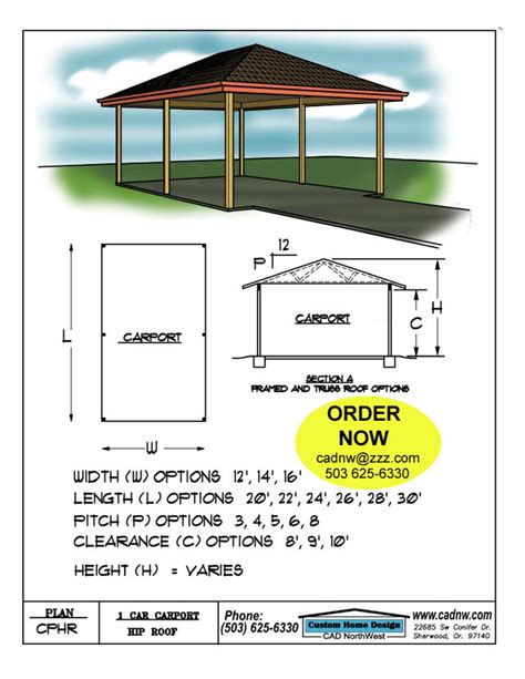 Free Hip Roof Carport Plans