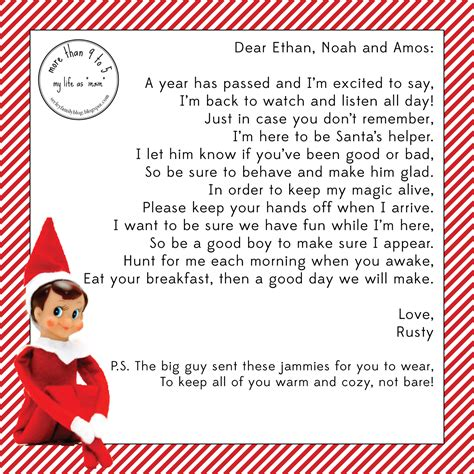 Free Letter From Elf On The Shelf Template