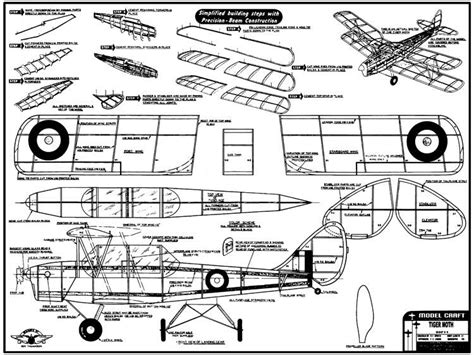 Free Model Aircraft Plans For Tiger Moth Airplane Reproduction