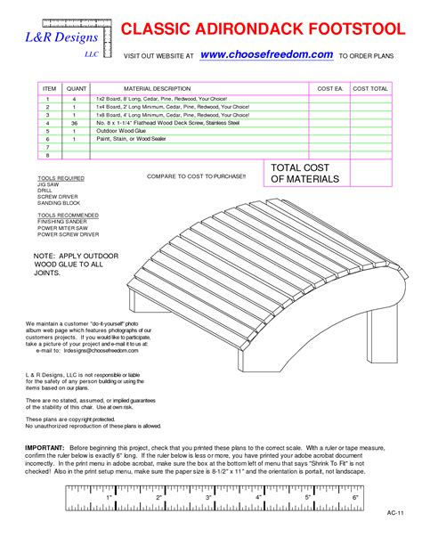 Free Plans For Adirondack Chair Footstools Furniture