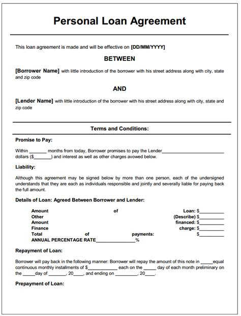 Free Printable Loan Agreements