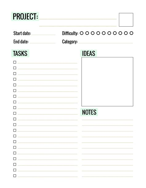 Free Printable Project Planner Pages