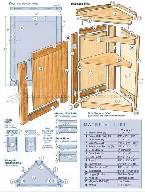 Free woodworking plans for corner cabinet Image