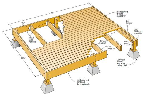 Freestanding Deck Plan By California Redwood Co