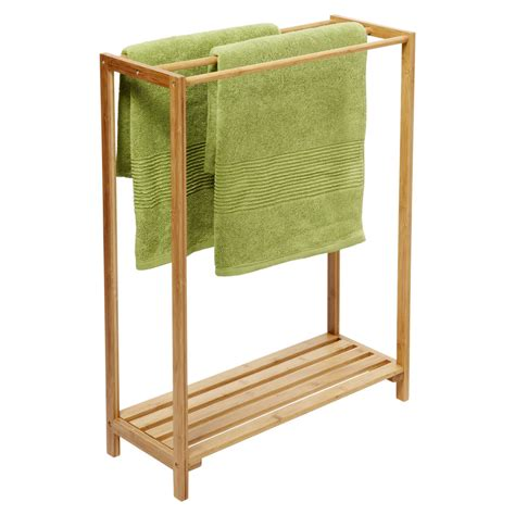 Freestanding Wood Towel Rack