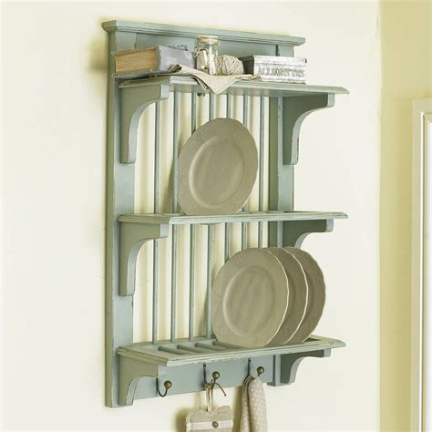 French Country Wood Wall Mount Plate Rack