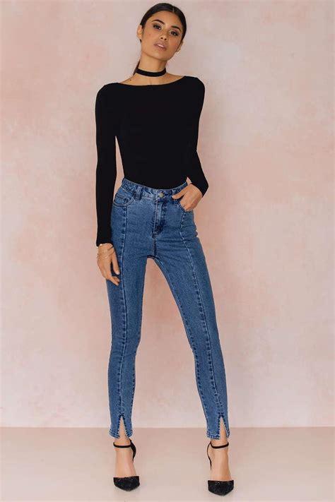 Front Slit Jeans