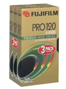 Fuji PRO T-120  High-Grade Recordable VHS Cassette Tapes (3 pack)