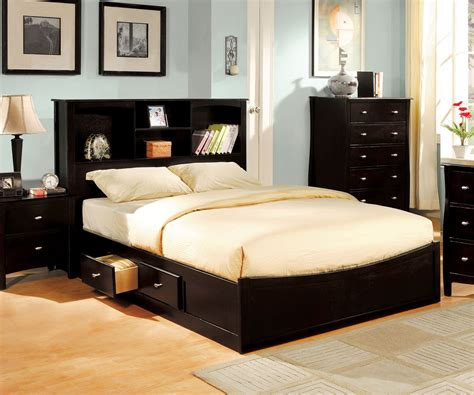 Full Platform Bed With Bookcase Headboard