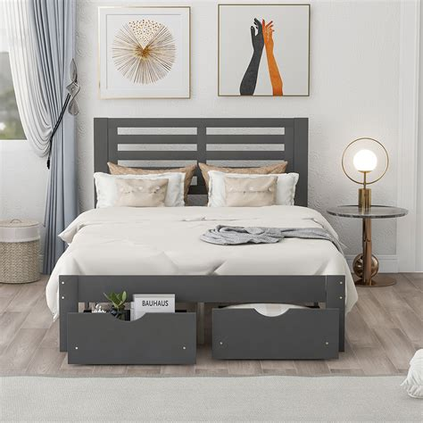 Full Platform Bed With Drawers