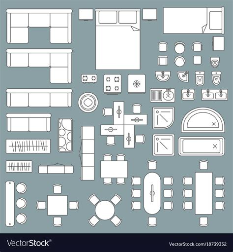 Furniture Plan View Vector Free