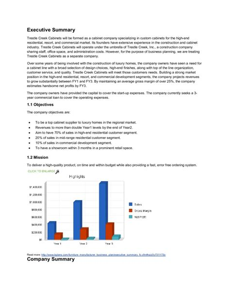 Furniture Store Business Plan PDF
