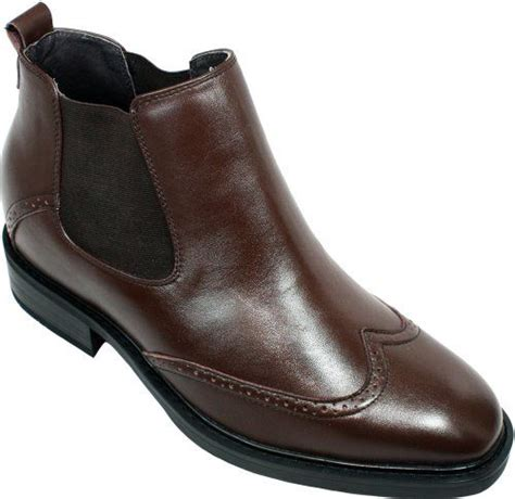 G1087-3 Inches Taller - Height Increasing Elevator Shoes (Brown Leather Slip-on Wing-tip)