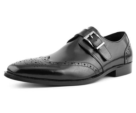 G329080-2.6 inches Taller - Height Increasing Elevator Shoes-Black Wing-tip Dress Shoes