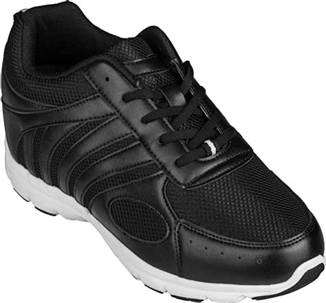 G3304-3.2 Inches Taller - Height Increasing Elevator Shoes (Black Lace-up Sneakers)