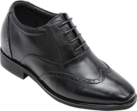 G51123-3.2 Inches Taller - Height Increasing Elevator Shoes (Black Lace-up Wing-tip)