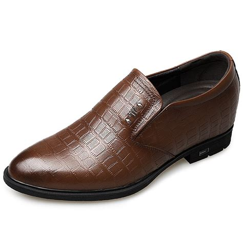 G5823-3 Inches Taller - Height Increasing Elevator Shoes (Brown Slip-on Dress Shoes)