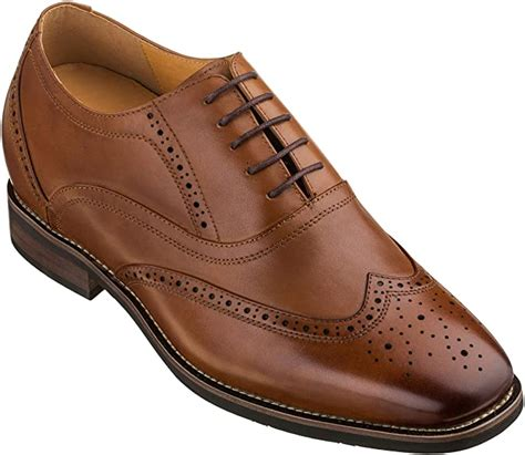 G60101-2.6 inches Taller - Height Increasing Elevator Shoes (Dark Brown Lace-up Wing-tip)