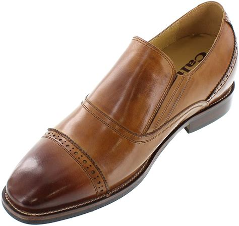 G60122-3 inches Taller - Height Increasing Elevator Shoes (Brown Leather Slip-on Cap-Toe)