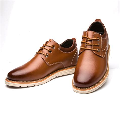 G7059-2.8 inches Taller - Height Increasing Elevator Shoes - Brown Leather Casual Shoes