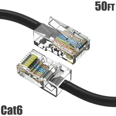 GadKo 50Ft Cat.6 Non-Boot Patch Cable Black