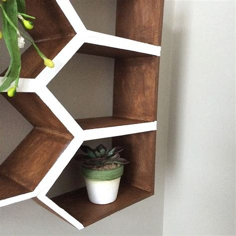 Gallery Wall With Diy Geometric Wood Wall Shelves