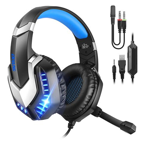 Gaming Headset, Stereo LED Over Ear Headband Headphones With Mircophone For PC PS4 Computer Laptop Games With Noise Cancelling